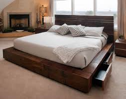 Wooden Platform Bed Frame Plans by Building Platform Bed Frame With Drawers Bedroom Ideas