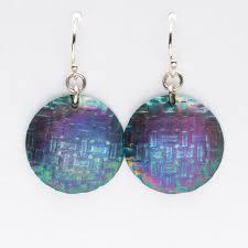 niobium earrings handmade artisan blue fuschia niobium disk earrings