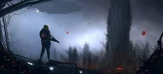 arte ciencia ficción paisaje del futuro personas armas naves