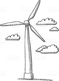 wind turbine clouds drawing stock vector art 472294469 istock