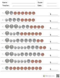 identifying money worksheet worksheets