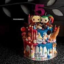 harley quinn and joker cake chocodrop with funko pop insta
