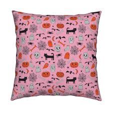 halloween pink and orange halloween fabric hand drawn