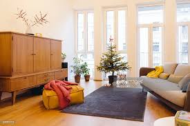 modern loft living room with potted blue spruce christmas tree
