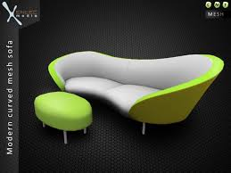modern curved sofa second life marketplace modern curved mesh sofa couch