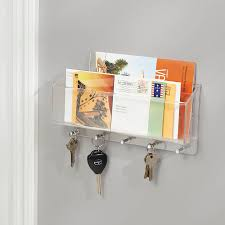 wall mounted letter rack with key hooks by jodie byrne