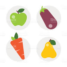 flat icons vegetables of healthy lifestyle diet food modern design