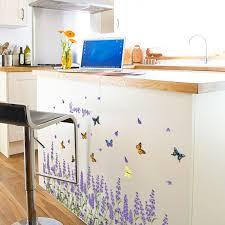 cuisine lavande lavande rhe plinthe bricolage créatif fleur sticker mural entrée