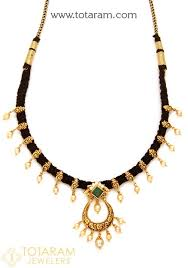 black gold necklace jewelry images 22k gold necklace with cz color stones japanese pearls black jpg
