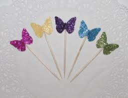butterfly cake toppers mix colors butterfly glitter cupcake toppers food picks garden