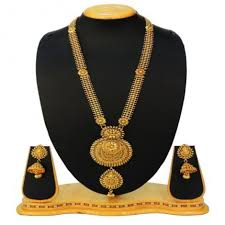 long necklace set images Traditional golden long necklace set for women jewellery jpg