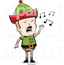cartoon vector clipart of a blond male christmas elf singing by