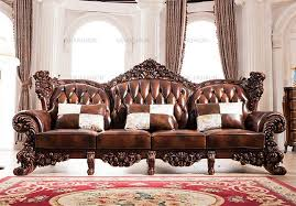 Leather Sofa Co 2018 Design Luxury Wooden Carving Frame Leather Sofa Set