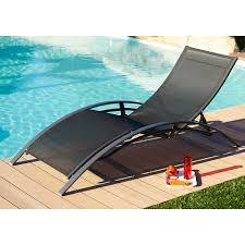 chaise longue transat dcb garden chaise longue alu textilène noir transat dcb garden sur