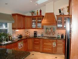 well groomed teak cabinets plus oven and refrigerator ideas for