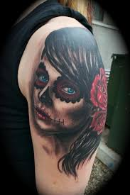 el dugi lewis tattoos half sleeve day of the dead