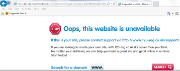 Site Unavailable - why 123 reg suspends webites getting them back fast
