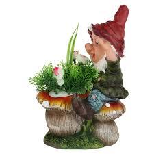 Mushroom Home Decor by Wonderland Dwarf Gnome Climbing Mushroom Planter With Flower