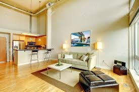 High Ceiling Kitchen by Modern Loft Apartment Living Room Interior With Kitchen And High