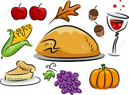 icon illustration featuring thanksgiving related items stock photo