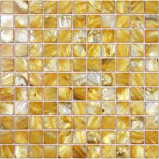 Tiles  Yellow Seashell Mosaic Mother Of Pearl Tiles Kitchen - Seashell backsplash