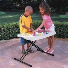 Folding Table Adjustable Height 30 X 20 In Personal Adjustable Height Folding Table Almond