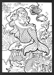 printable mermaid coloring pages adults coloringstar