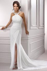 Chiffon Wedding Dresses Sheath Halter Court Train Chiffon Wedding Dress Cute Dresses