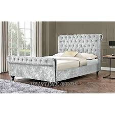 silver bed new stunning crushed velvet luxurious chesterfield bed frame