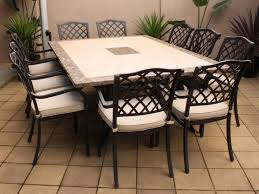 Travertine Patio Table Furniture Soft Brown Vinyl Floor Lighting Outdoor Dining