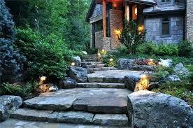 front entrance lighting ideas landscape path lighting ideas stone boulders path front entrance