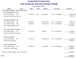 Construction Expense Report Template by Quickbooks Costs By By Vendor Detail Report
