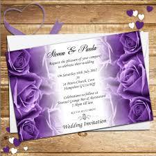 Wedding Invitations Purple 10 Personalised Purple Roses Wedding Invitations Day Evening N62