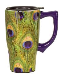 amazon com spoontiques peacock feathers travel mug green