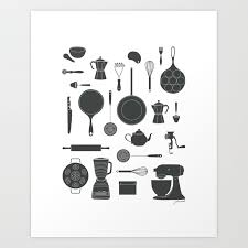 black and white prints for kitchen kitchen tools black on white print by johannakindvall