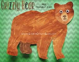 grizzly bear printable craft learncreatelove