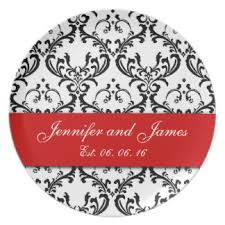 keepsake plates black white damask wedding plates zazzle