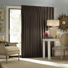 interesting dark brown fabric sliding curtain doors for glass