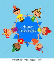 children celebrating hanukkah and holding