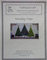 cross stitch pattern holiday christmas trees turquoise