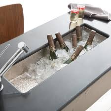 Rio Chico Brushed Nickel Bar  Prep Trough Sink Native Trails - Kitchen prep sinks