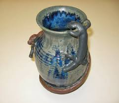 Blue Vase Story Funkware Pottery Scupture The Story Of The Salamander And The Snake