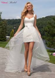 high low sheath lace straps sweetheart above knee short wedding