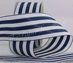 blue and white striped ribbon navy blue white striped ribbon 2 wide by the yard