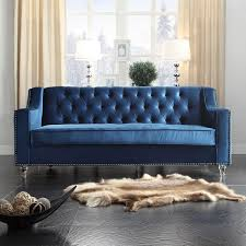 Nailhead Sleeper Sofa Iconic Home Velvet Button Tufted With Silver Nailhead Trim