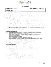 resume for food server job duties list example of responsibilities