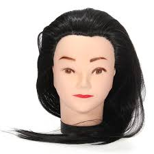 new 1pc mannequin 18inch long black hair hairdressing cutting