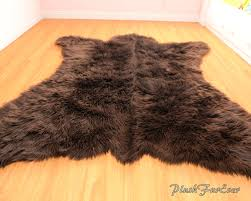 Black Bear Decorations Home Large Grizzly Area Rug White Brown Black Polar Bear Skin Rug