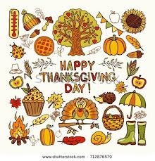 set doodle icons thanksgiving vector autumn stock vector 712876579