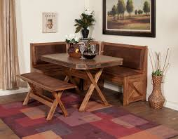 oak unfinished corner bench for small kitchen and double legs